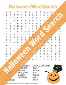 Free printable Halloween word search for kids.