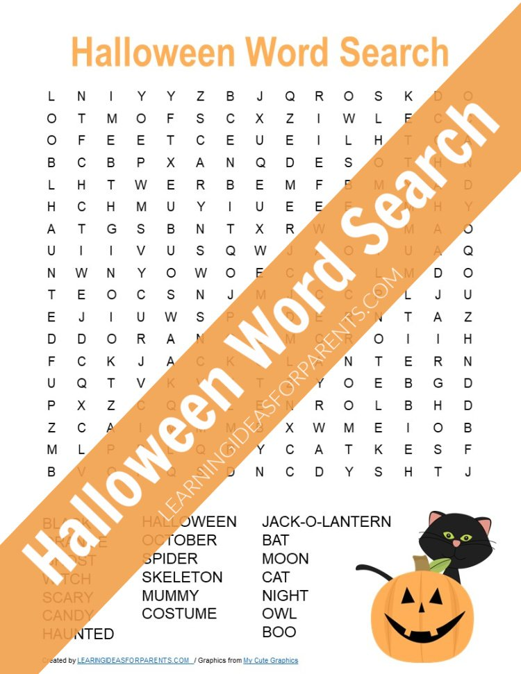 Free printable Halloween word search for kids.