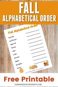 Fall alphabetical order free printable for kids