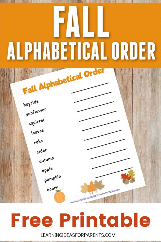 Free printable fall alphabetical order for kids