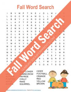 Free printable fall word search for kids.