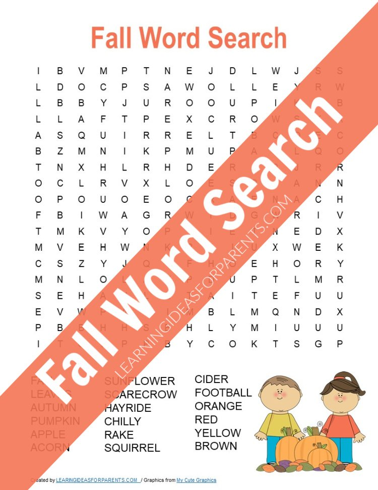 Free printable fall word search for kids