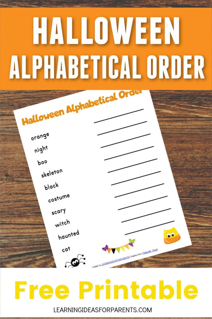 Free printable Halloween alphabetical order activity for kids.
