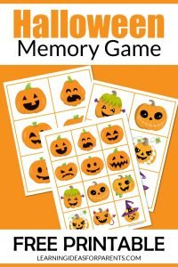 Free printable Halloween memory game for kids.