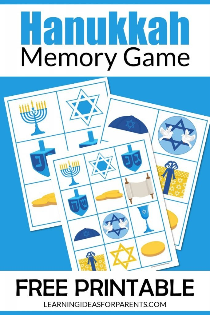 Free printable Hanukkah memory game for kids.