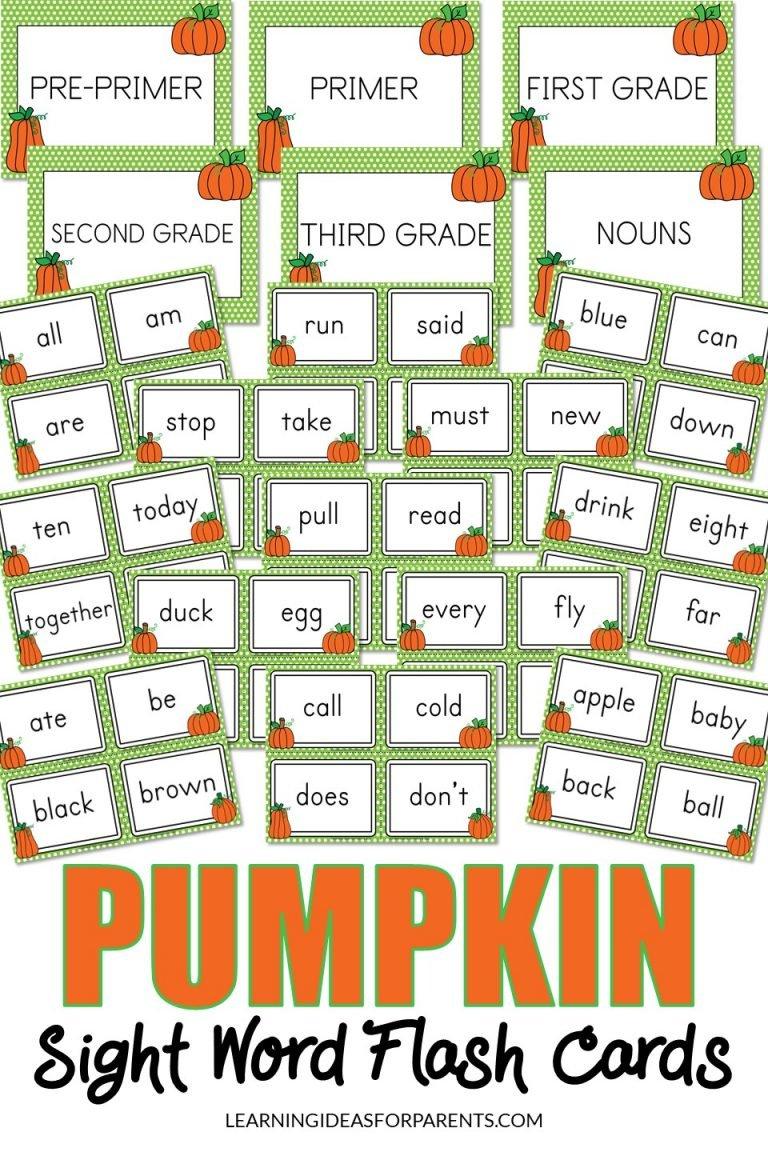 Pumpkin Themed Sight Word Flash Cards