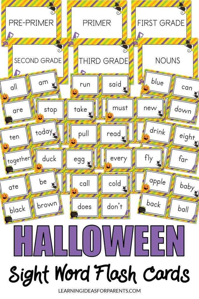 Printable Halloween themed sight word flash cards.