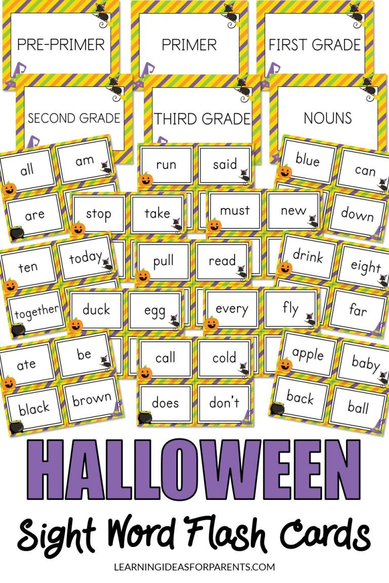 Halloween Themed Sight Word Flash Cards