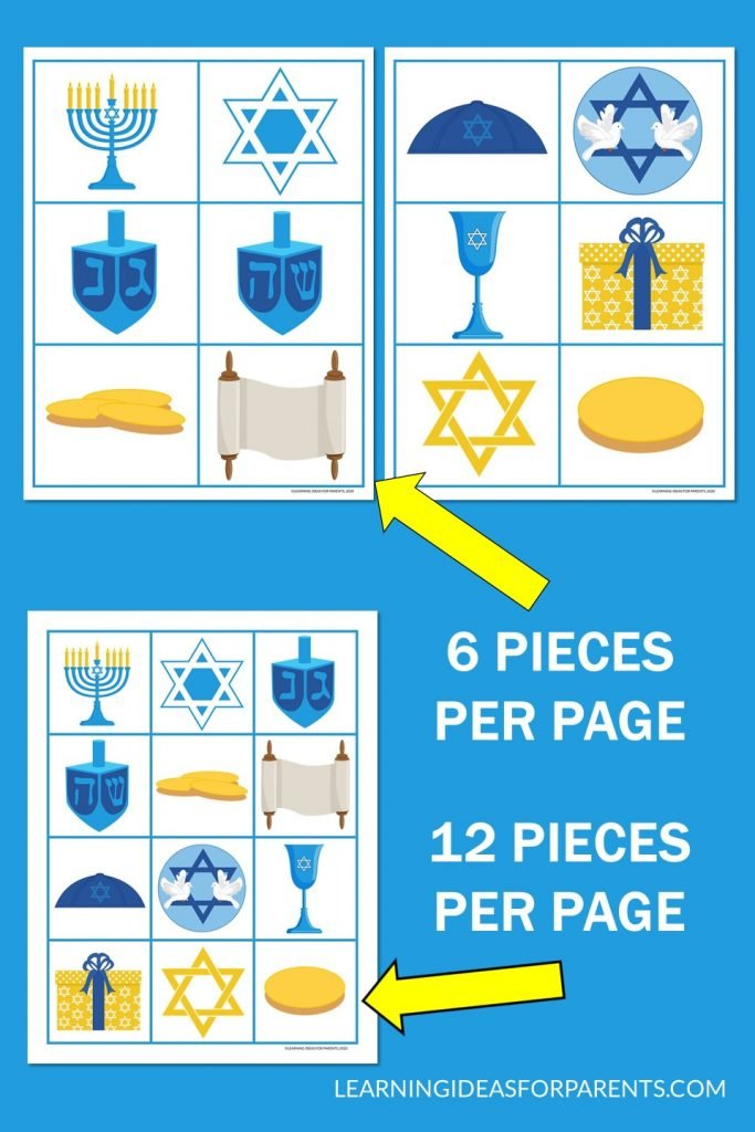 Chanukah memory game free printable.