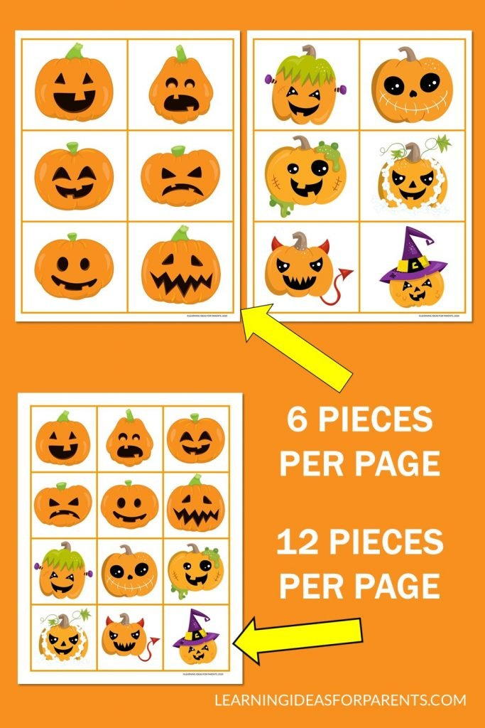 Free printable jack-o-lantern memory game for Halloween.