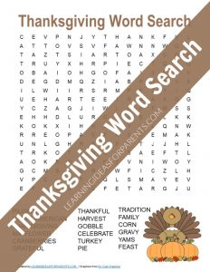 Free printable Thanksgiving word search for kids