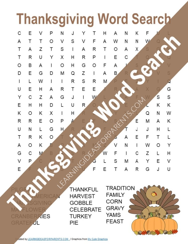 Thanksgiving Word Search Free Printable Learning Ideas For Parents