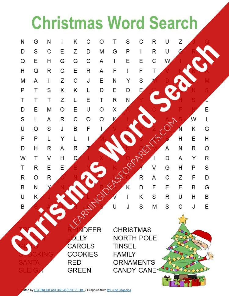 Free printable Christmas word search for kids.