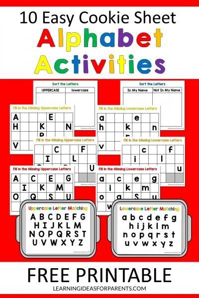 Free printable cookie sheet alphabet activities