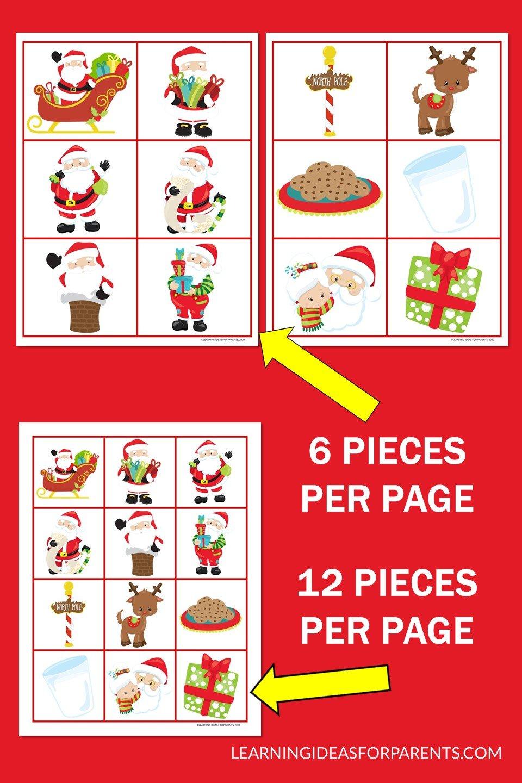 Free printable Santa Claus memory game for kids