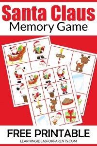 Santa Claus memory game free printable for kids