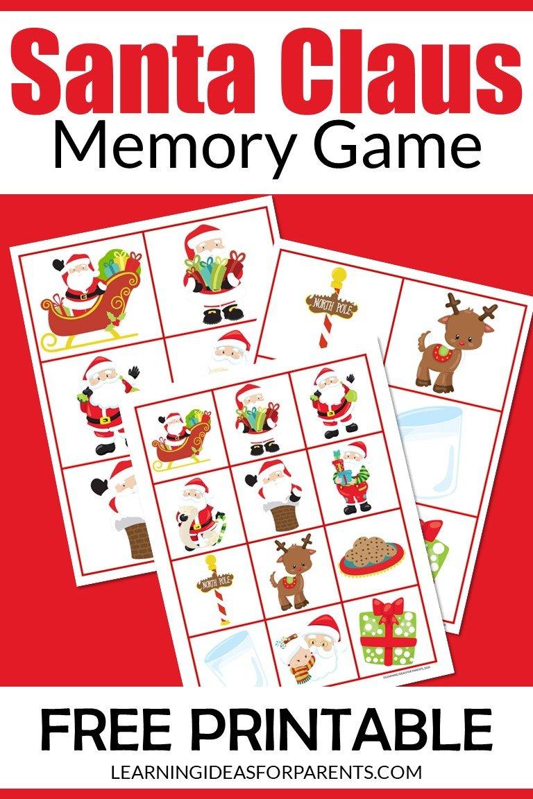 Santa Claus memory game free printable for kids.