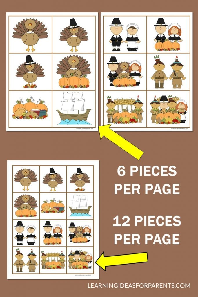 Thanksgiving memory game free printable for kids