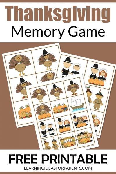 Free printable Thanksgiving memory game for kids