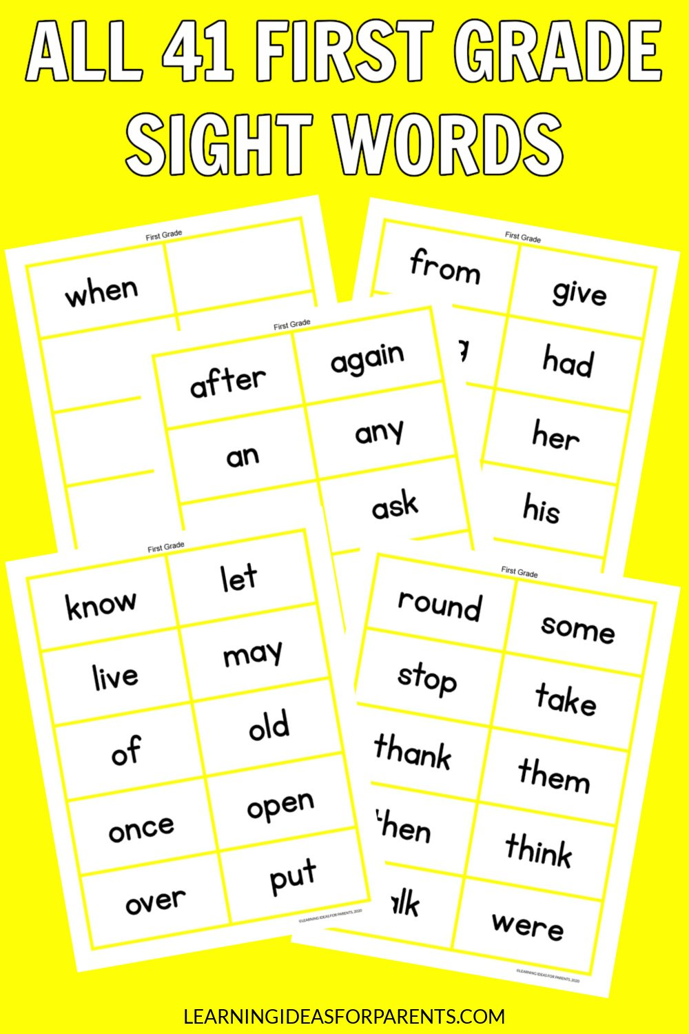 Free printable flash cards for all 41 Dolch first grade words.