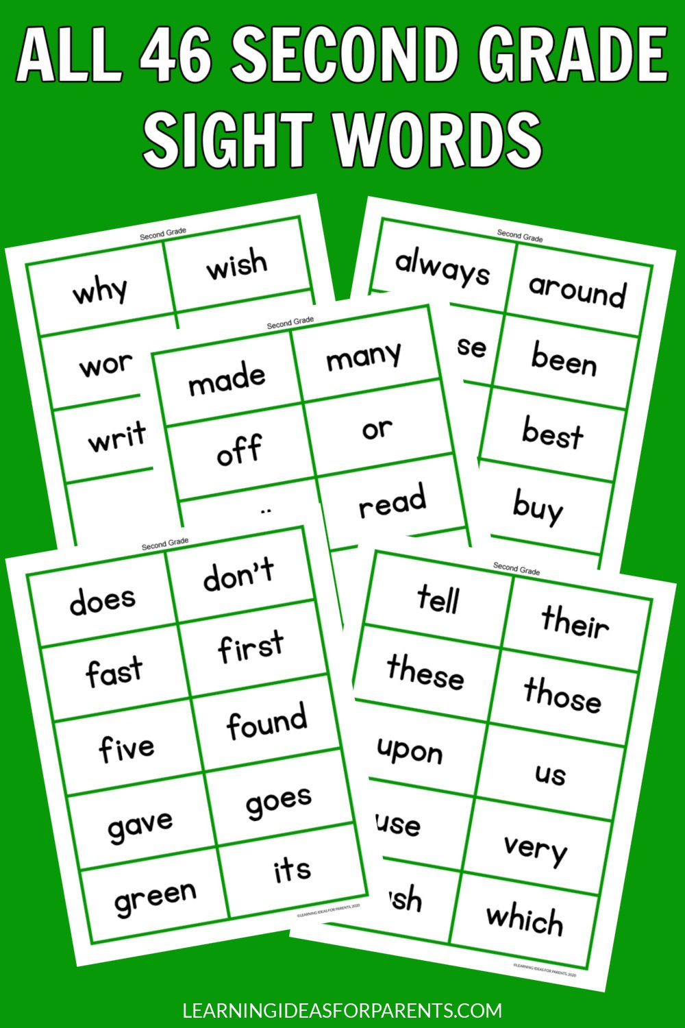 Free printable sight words flash cards for all 46 Dolch second grade words.