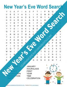 Free printable New Year's Eve word search for kids