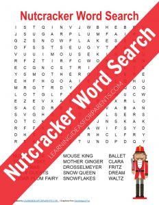 Free printable Nutcracker word search for kids