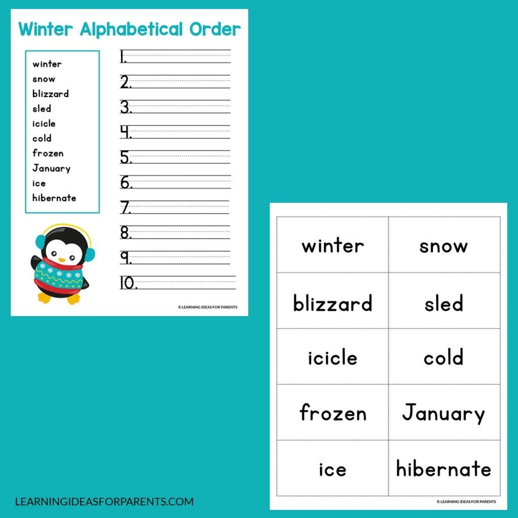Winter ABC order free printable activity for kids on two pages