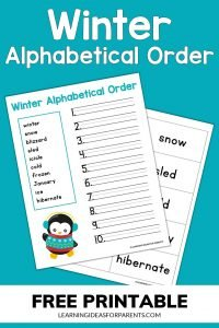 Winter alphabetical order free printable for kids