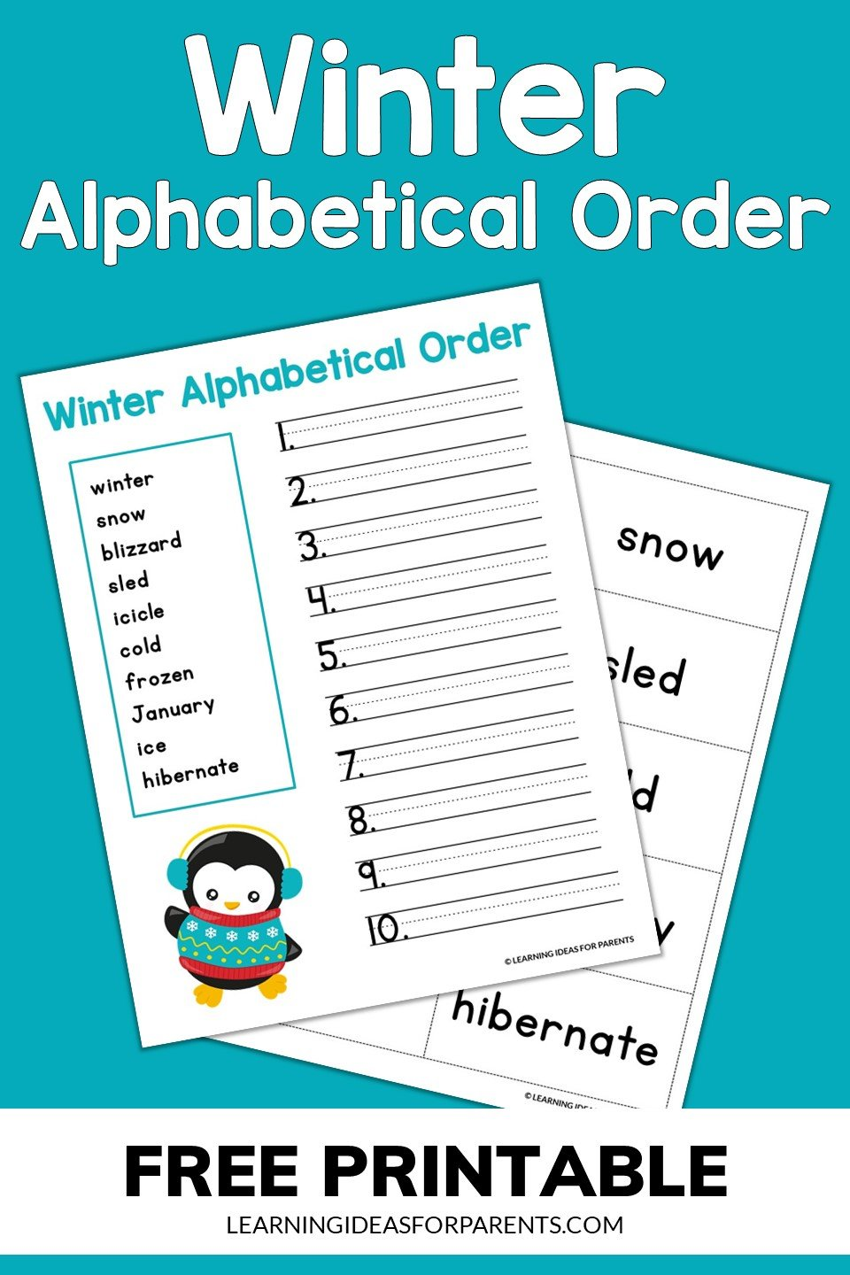 Winter alphabetical order free printable for kids