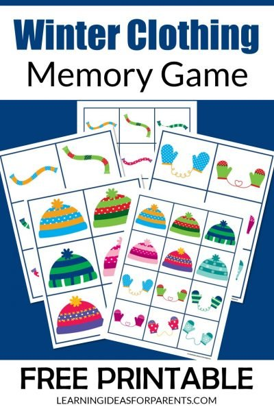 Free printable winter clothing memory game for kids