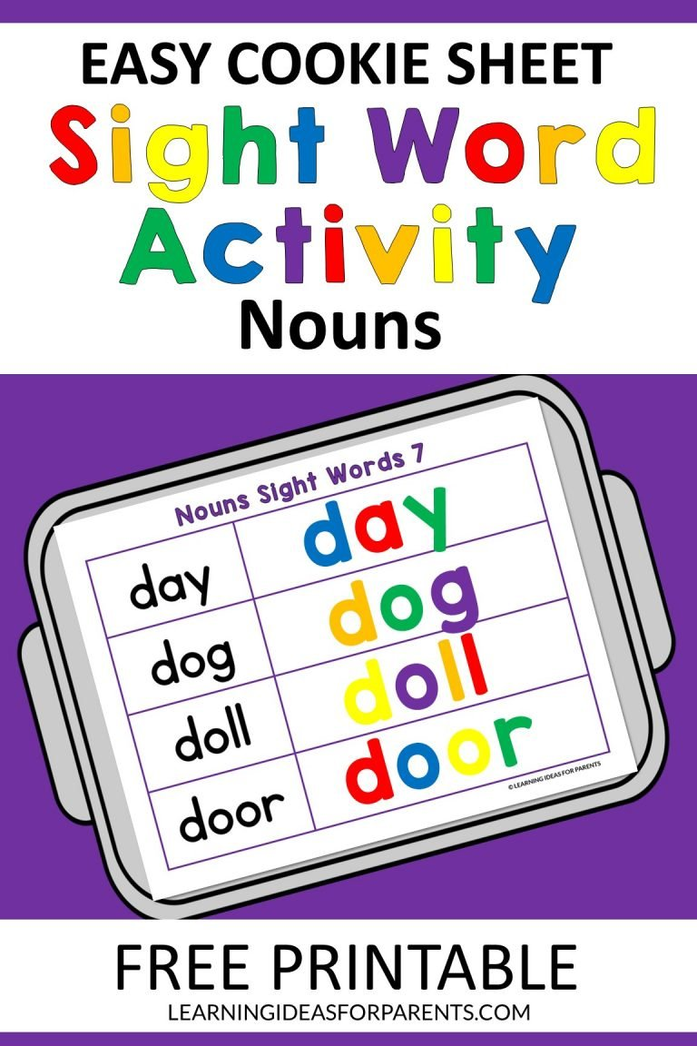 Easy Cookie Sheet Nouns Sight Word Activity