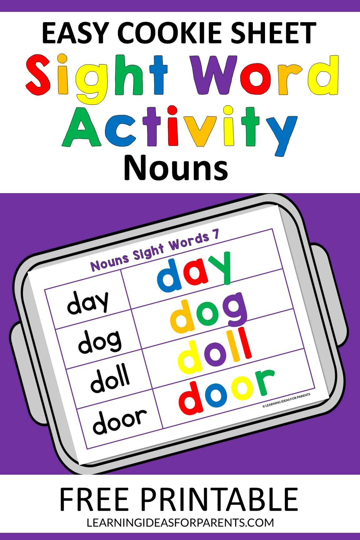 Cookie sheet activity for the Dolch nouns sight words