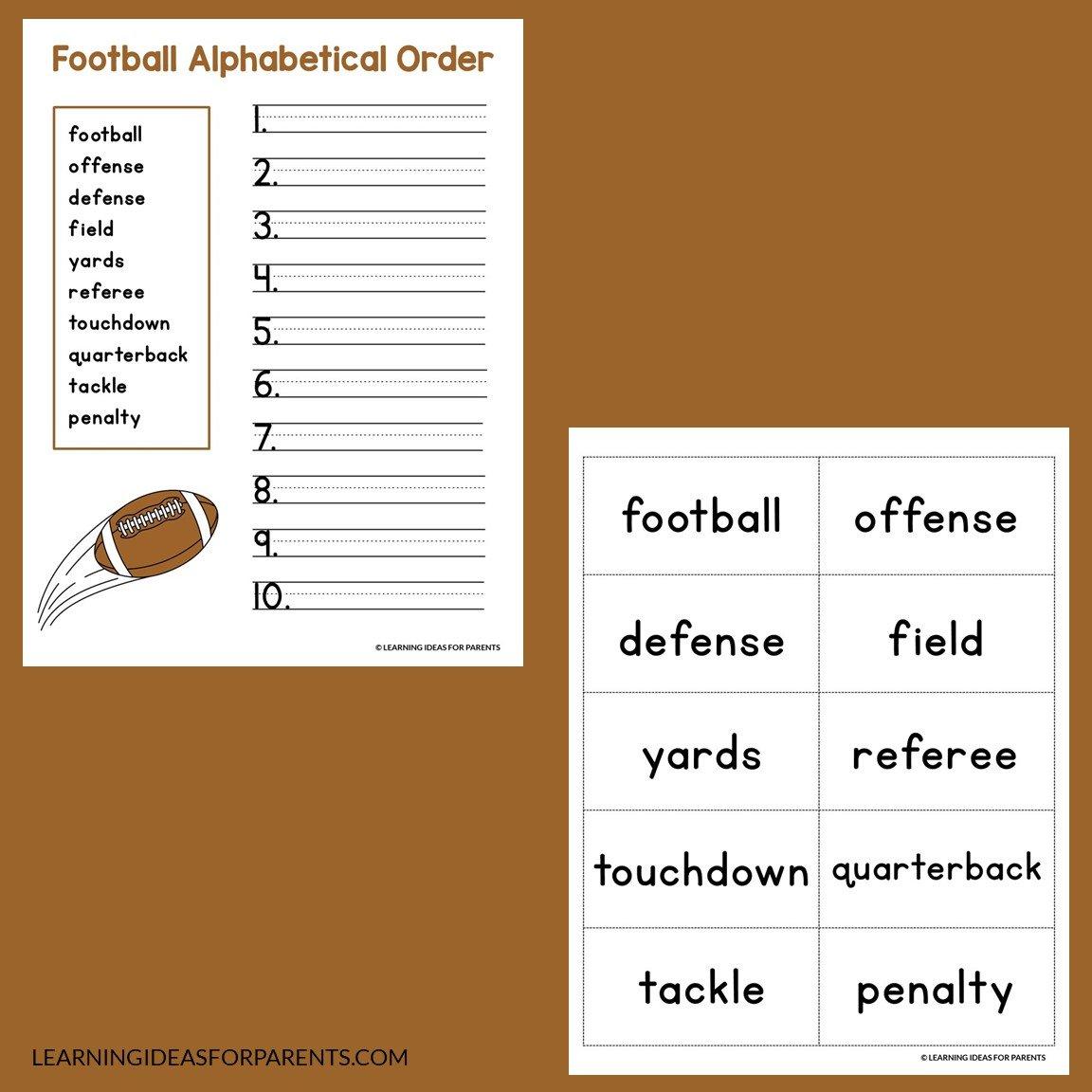 Football abc order alphabetical order activity