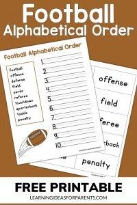 Free printable football alphabetical order activity