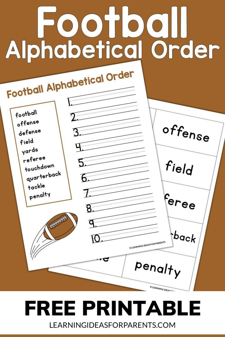 Football Alphabetical Order Free Printable