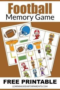 Football memory game free printable for kids