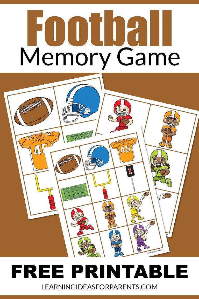 Free printable football memory game for kids.