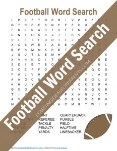 Football word search puzzle free printable