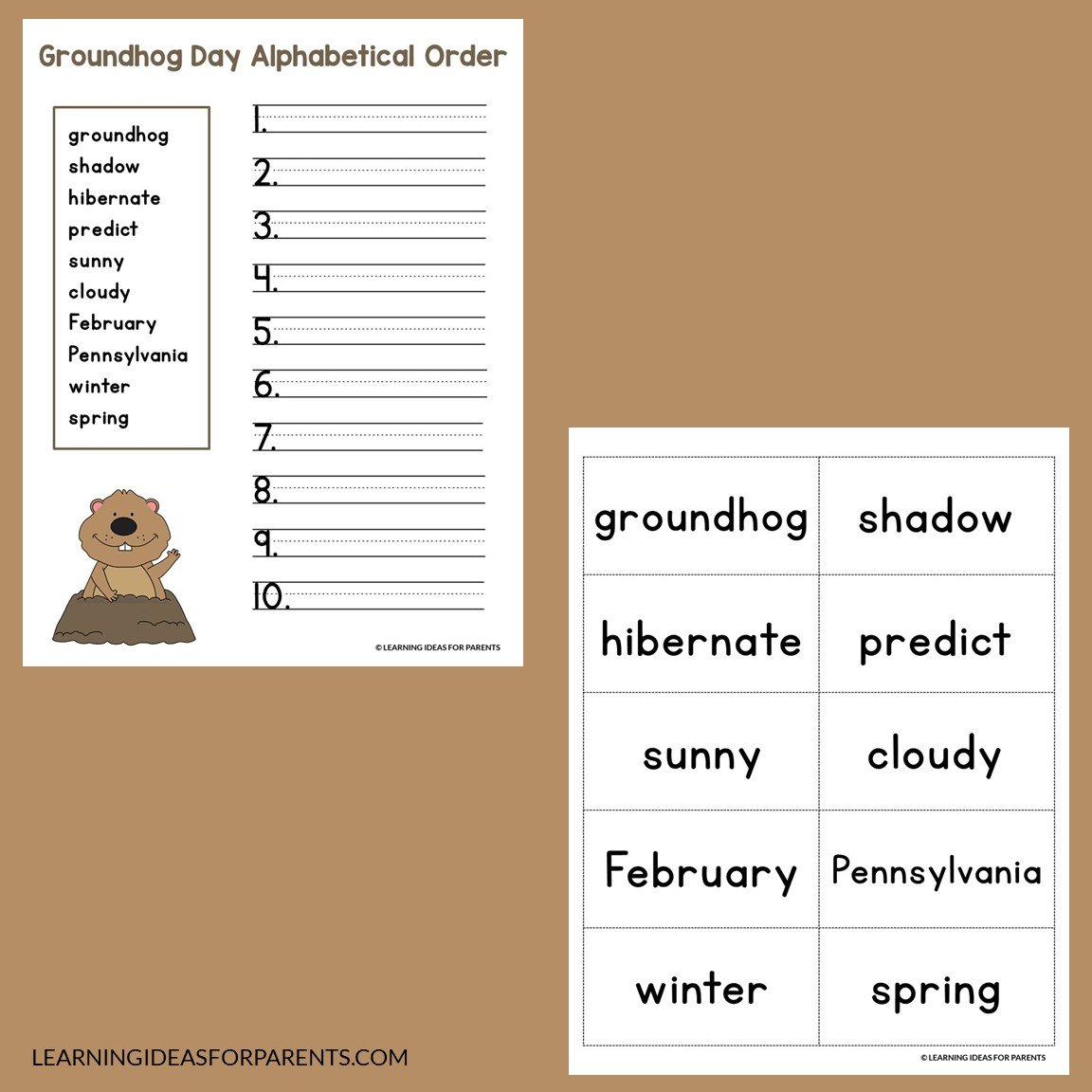 Groundhog Day ABC order free printable activity