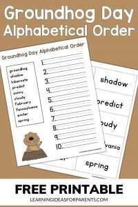 Groundhog Day alphabetical order free printable activity