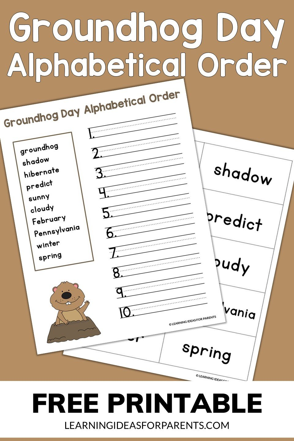 Free printable Groundhog Day alphabetical order activity