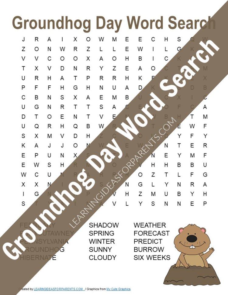 Free printable Groundhog Day word search for kids