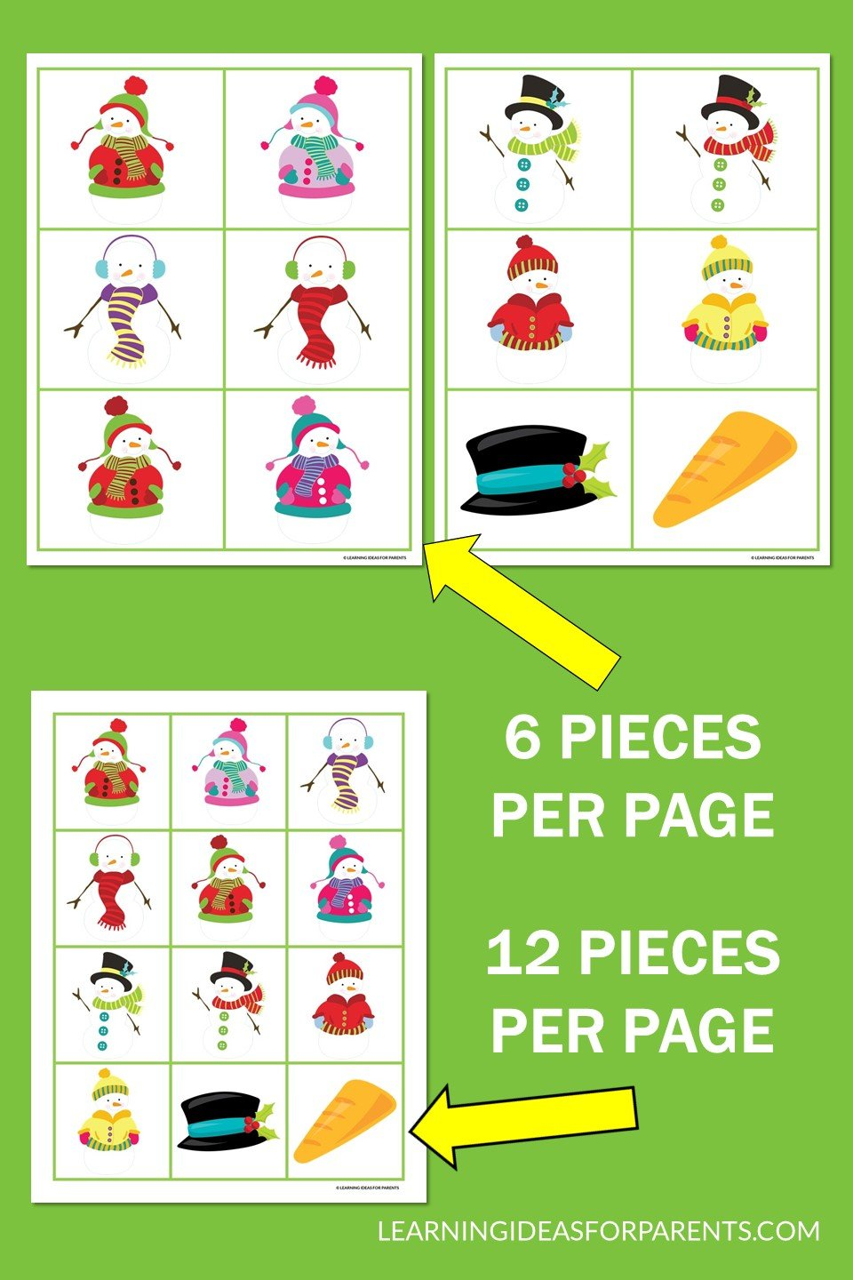 Snowman memory game free printable example pages