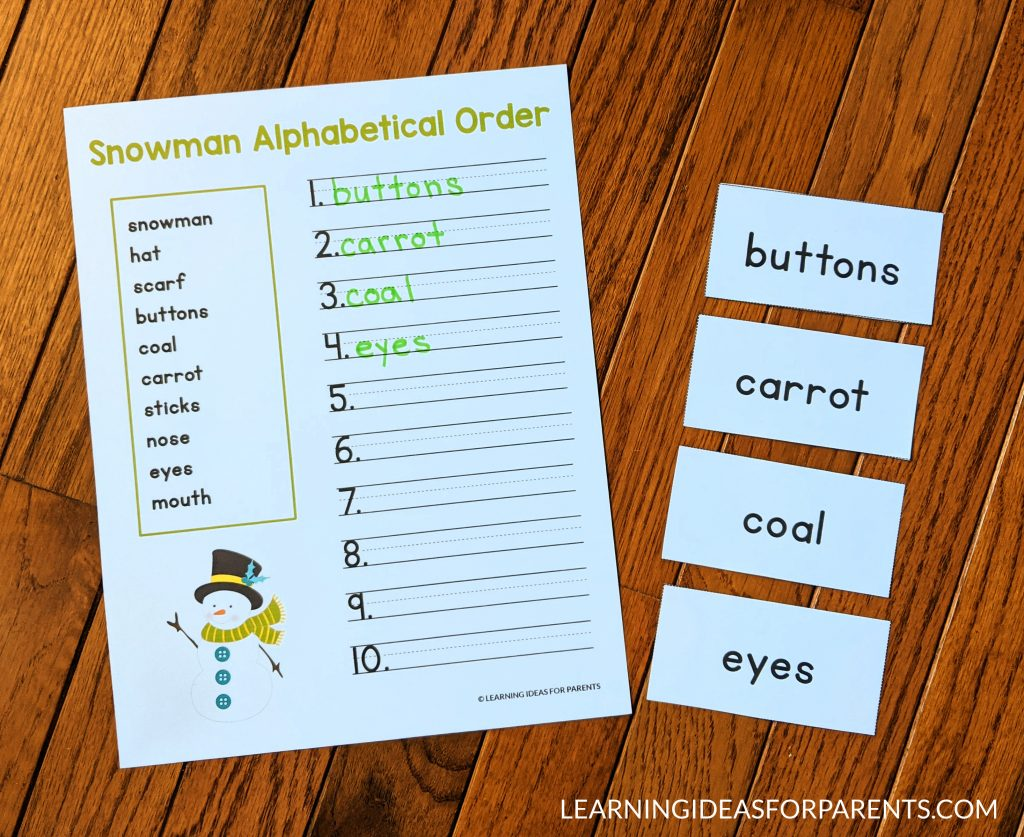 Free printable snowman ABC order activity for kids