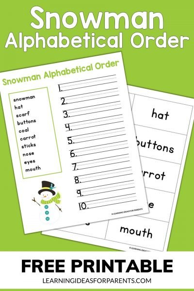 Free printable snowman alphabetical order activity