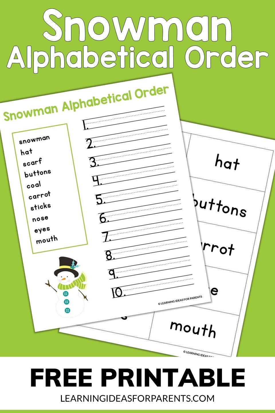 Free printable snowman alphabetical order activity