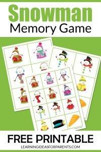 Snowman memory game free printable