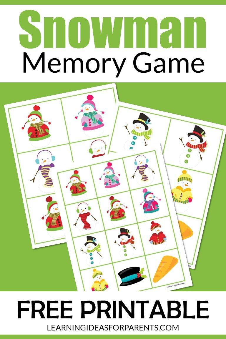 Snowman memory game free printable for kids