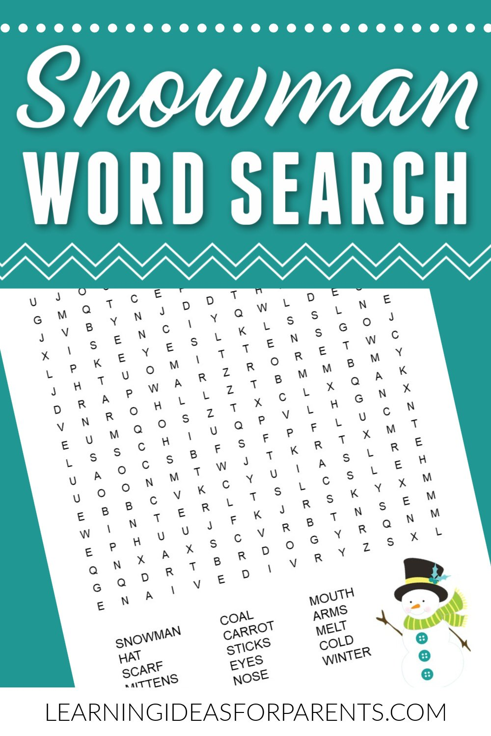 Snowman word search free printable.